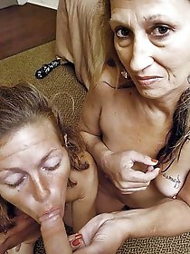 Exciting experienced moms spreading lips